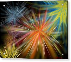 Acrylic Print featuring the digital art Fireworks by Christine Fournier