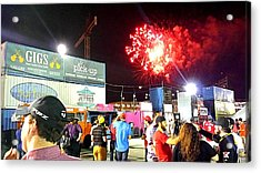 Fireworks Erupt Over The Bullpen Acrylic Print by Kenny Glover