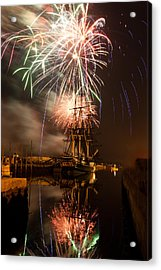 Fireworks Exploding Over Salem's Friendship Acrylic Print by Jeff Folger
