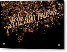 Fireworks Feliz Ano Nuevo In Elegant Gold And Black Acrylic Print by Marianne Campolongo