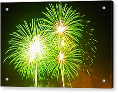 Acrylic Print featuring the photograph Fireworks Green And White by Robert Hebert