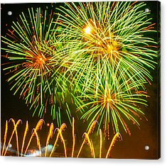 Acrylic Print featuring the photograph Fireworks Green And Yellow by Robert Hebert