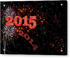 Fireworks Happy New Year 2015 Acrylic Print