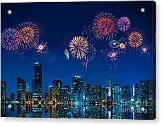 Acrylic Print featuring the photograph Fireworks In Miami by Carsten Reisinger