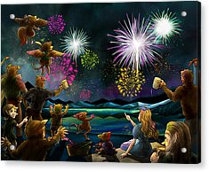 Acrylic Print featuring the painting Fireworks In Oxboar by Reynold Jay