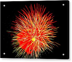 Acrylic Print featuring the photograph Fireworks In Red And Yellow by Michael Porchik