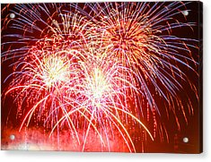 Fireworks In Red White And Blue Acrylic Print