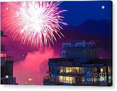 Fireworks In The City Acrylic Print by Nancy Harrison