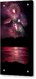 Fireworks In The Country - Pink Acrylic Print by Justin Martinez