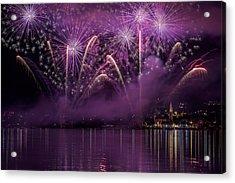 Fireworks Lake Pusiano Acrylic Print by Roberto Marini