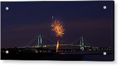 Fireworks On Staten Island South Beach Acrylic Print