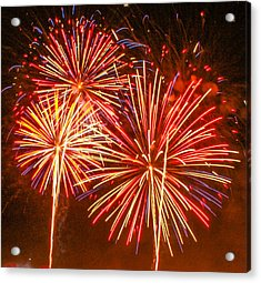 Acrylic Print featuring the photograph Fireworks Orange And Yellow by Robert Hebert