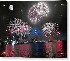 Fireworks Over Detroit Acrylic Print by Michael Rucker
