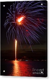 Fireworks Over Lake Acrylic Print by Raymond Earley