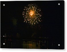 Fireworks Over Market Street Bridge Acrylic Print by Gene Walls