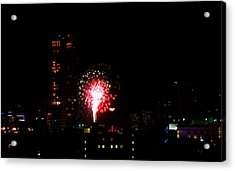 Fireworks Over Miami Moon Acrylic Print