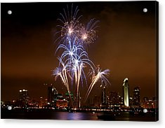 Fireworks Over San Diego Skyline Acrylic Print by Jetson Nguyen