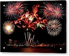 Fireworks Over The Delaware Acrylic Print by Nick Zelinsky