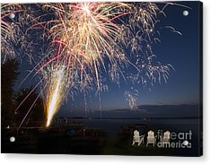Fireworks Over The Lake Acrylic Print by Twenty Two North Photography