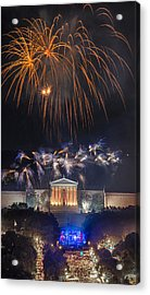 Fireworks Over The Parkway Acrylic Print by Bruce Neumann