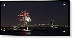 Fireworks Over Verrazano Bridge Acrylic Print