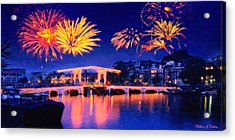 Fireworks Acrylic Print by Walter Colvin