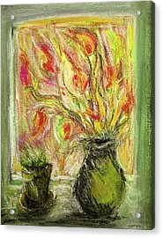 Acrylic Print featuring the painting Firery Window by Linde Townsend