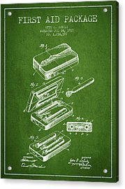 First Aid Package Patent From 1917 - Green Acrylic Print by Aged Pixel