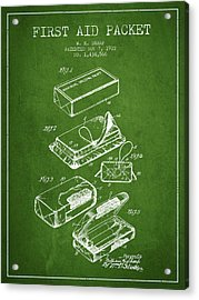 First Aid Packet Patent From 1922 - Green Acrylic Print by Aged Pixel