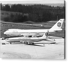 First Boeing 747 Acrylic Print by Underwood Archives