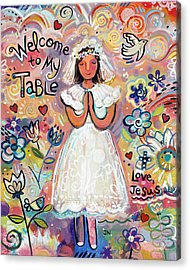 First Communion Girl Acrylic Print by Jen Norton