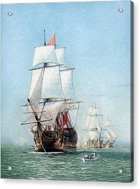 First Journey Of The Hms Victory Acrylic Print by War Is Hell Store
