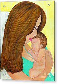 First Kiss- Mother And Newborn Baby Acrylic Print by Shelia Kempf