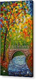 Acrylic Print featuring the painting First Kiss On The Bridge Original Acrylic Palette Knife Painting by Georgeta Blanaru