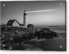 First Light At Portland Head Light Bw Acrylic Print by Susan Candelario