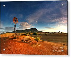 First Light On Wilpena Pound Acrylic Print by Bill  Robinson