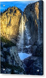 Acrylic Print featuring the photograph First Light On Yosemite Falls by Mike Lee