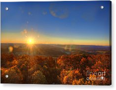 First Morning Light Striking Top Of Trees Acrylic Print by Dan Friend