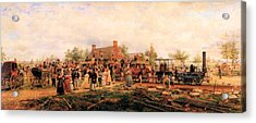 First Railroad Train On The Mohawk And Hudson Acrylic Print by Edward Henry