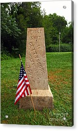 First Shot Monument Gettysburg Acrylic Print by James Brunker