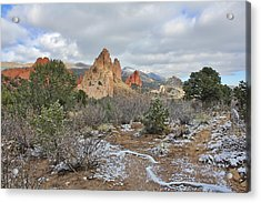 Acrylic Print featuring the photograph First Snow At Garden Of The Gods by Diane Alexander