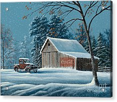First Snow Acrylic Print by Gary Adams