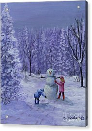 First Snow Acrylic Print by Kristi Roberts