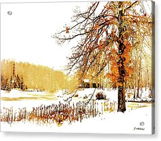 First Snow Last Leaves Acrylic Print by Dorothy Walker