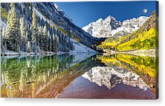 First Snow Maroon Bells Acrylic Print