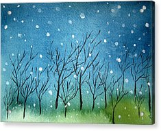 First Snow Acrylic Print by Oiyee At Oystudio