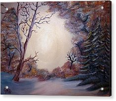 Acrylic Print featuring the painting First Snow by The GYPSY And DEBBIE