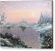 First Snowfall Acrylic Print by Alys Caviness-Gober