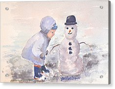 First Snowman Acrylic Print by Genevieve Brown