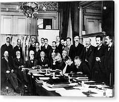 First Solvay Congress Acrylic Print by Photographie Benjamin Couprie, Institut International De Physique Solvay, Courtesy Emilio Segre Visual Archives/american Institute Of Physics